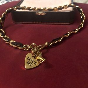 Leather and chain together bracelet